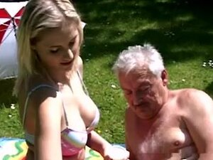 giant tits blonde fucked by old man on garden,