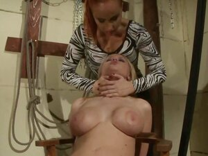 LEZDOM lesbians enjoying dildo massage during BDSM