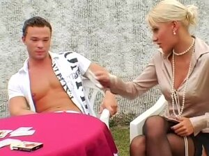 Hot satin blouse orgy outdoors