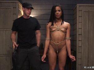 Perfect butt ebony slave gets training