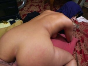 Ethnic babe doggystyled in homemade video