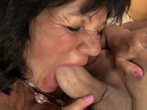 Busty brunette mature Helena invites a young man