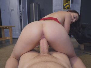 Kelsey Kage rides the hard cock in the locker room