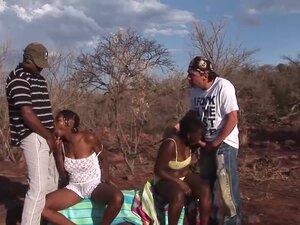 african deepthroat safari orgy, hot threesome
