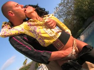 Thong and blouse girl fucked outdoors