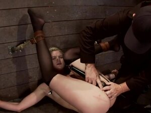 Shy sexy blond girl is trapped, bound,