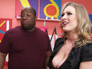Curvaceous blonde MILF Vicky Vixen blows BBC at