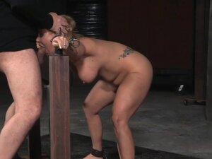 Bonded babe spitroasted by male dominators, Bonded