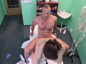 Slim babe swallowed cum of doctor