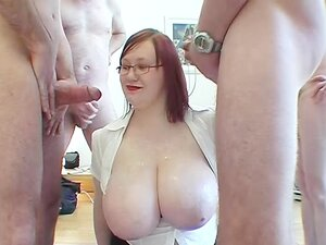 Plump big breasted Scottish readhead in glasses is