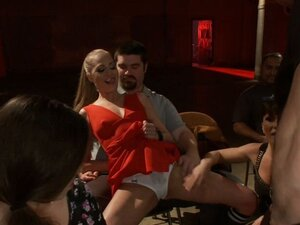 Blonde group anal fuck in public