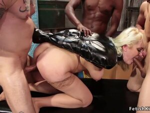 Blonde in stockings gets interracial orgy