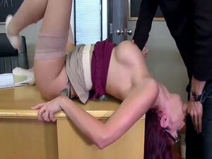 Hot teacher rides her pussy on top of students big