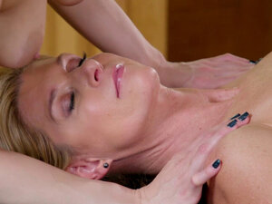 Two horny lesbian MILFs massage and passion