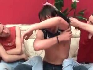 Horny long black hair dude struggling with two