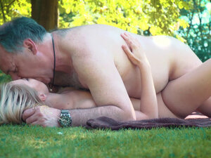 Petite teen fucked hard by grandpa on a picnic