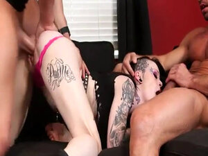 Tattooed punk whore double penetrated by two fat