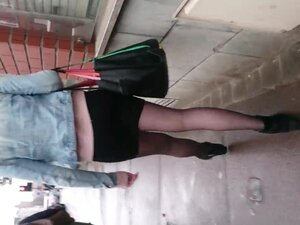 Candid walk in pantyhose,