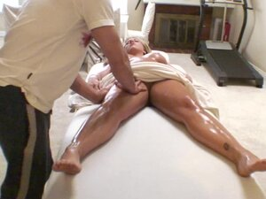 Chunky blonde covered in oil fucked hard by her