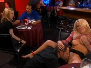 Sex in the bar with an amazing blond babe Holly