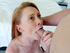 Redhead Athena Rayne is sucking the hard rod in