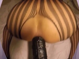 Ebony can barely fit huge anal toy