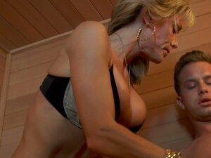 Jordan Lynn skinny busty mature woman blows cock