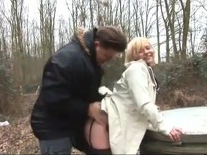 Blonde mature sex in the wood,