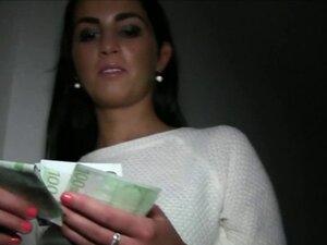 Beautiful dark haired Euro babe in public