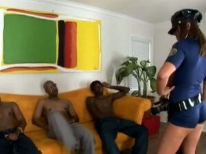 White chick in police uniform gets banged by two