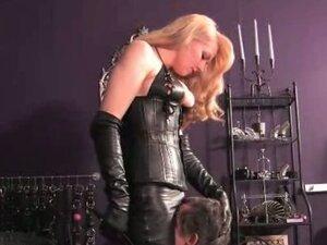 Mistress male slave pet coerced to masturbate and