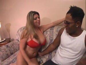 Big boobed blonde gets a hard black ramrod in her