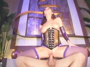 Sexy brunette getting pounded in a shiny corset
