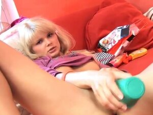 Super Horny Blonde extreme toy solo