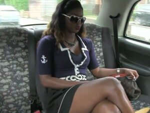 Ebony taxi passenger seduces cabbie to fuck