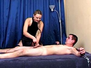 Blonde Mistress Ties His Cock Up