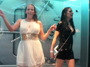 Wetlook girls dancing in the shower room 4
