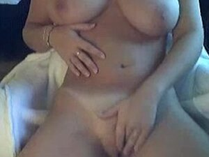 wife rubs her tits and pussy on webcam