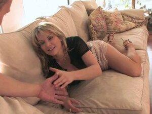 Pornstar in miniskirt awarding huge dick titjob
