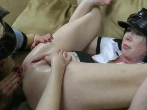 Three incredible hands in prolapsed asshole