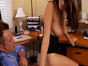 Nice Tits And Pussy Brunette Fucked On Office Desk