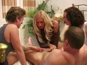 Lucky guy gets three sluts rubbing and stroking