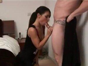 Cfnm stocking whore fondles dick