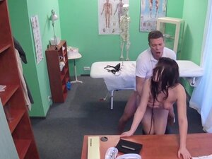 Patient after examination bangs doctor