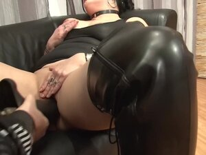 A fist in her pussy and a cock in her mouth