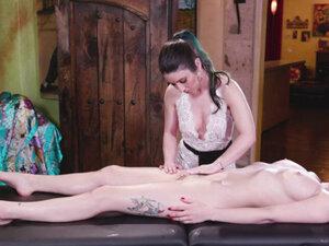 Masseuse Serena Blair massage her stepsis Olives