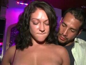 Sexy brunette blowing fat dick in the VIP