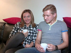 Eugenia and Edward are banging on the leather sofa