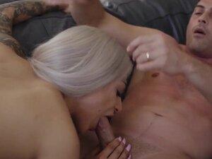Busty tattooed shemale Eva Maxim sucked and anal