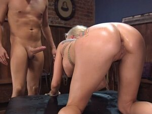 Busty blonde rough anal fuck in bondage